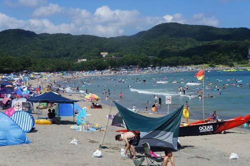 弓ヶ浜では夏の海水浴シーズンでもサップが出艇できる